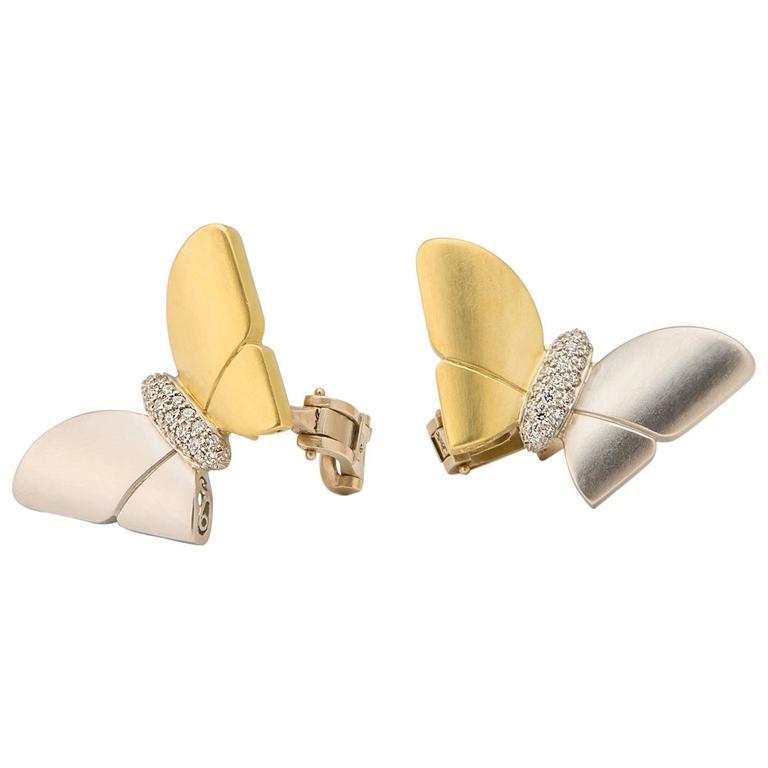 Kieselstein-Cord Diamond Gold Platinum Butterfly Earrings