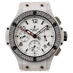 Hublot White Ceramic Case Diamond Bezel Big Bang Aspen Wristwatch
