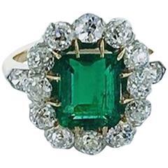 19th Century Emerald Diamond Platinum Gold Ring