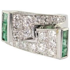 1930s P. N. Lackritz Emerald Diamond Platinum Art Deco Ring