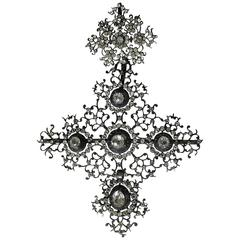 Georgian French Large Paste Cross Pendant