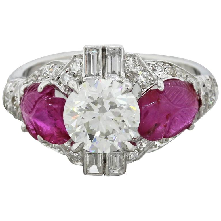 1920 antique deco 2 50 carat rubies platinum engagement ring for sale at 1stdibs