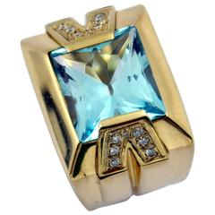 Versace Gold Topaz Diamond Ring