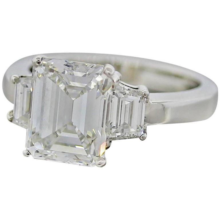 Gorgeous 3 90 carat GIA Emerald Cut Diamond Platinum 3 Stone Engagement Ring