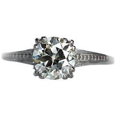 1920s Art Deco GIA Certified 1.31 Carat Diamond Platinum Engagement Ring