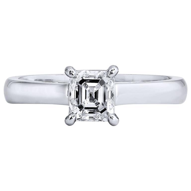 0 76 Emerald Step Cut Diamond Solitaire Platinum Engagement Ring For