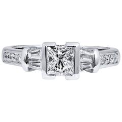Semi-Bezel Princess Cut Diamond platinum Engagement Ring