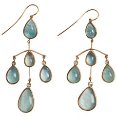 Marion Jeantet Aquamarine Diamond Gold Chandelier Earrings