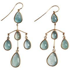 Marion Jeantet Aquamarine Diamonds Gold Chandelier Earrings