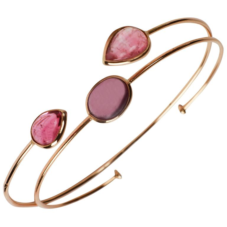 Marion Jeantet Two Tourmaline Gold Bangle Bracelets For Sale