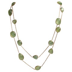 Prehnite Cabochons  Long Necklace by Marion Jeantet
