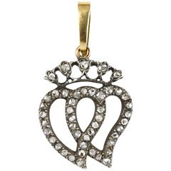 Antique Victorian Diamond gold Sweetheart Pendant