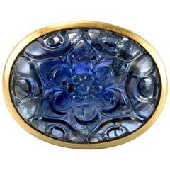 Large Carved Mughal Sapphire 18K Gold Ring