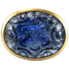 Large Carved Mughal Sapphire Gold Ring