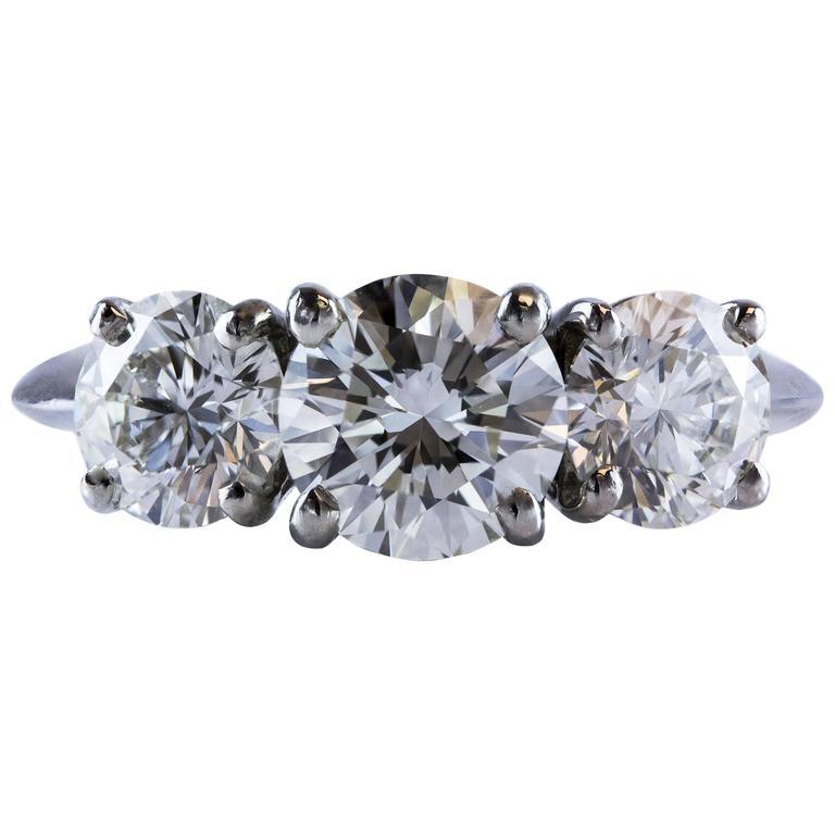 Tiffany & Co Three Stone Diamond GIA Certified Platinum Engagement Ring