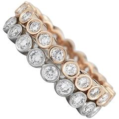 Bezel Set Three Point Diamonds in 18 Karat Rose Gold Band
