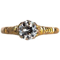 1880s Victorian .78 Carat Diamond Yellow Gold Engagement Ring