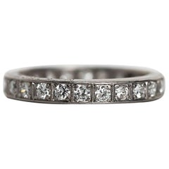 1910s Art Deco Old European Cut Diamond Platinum Eternity Band Ring
