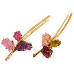 1970s Rare Dinh Van Tourmaline Amethyst Peridot Gold Earrings
