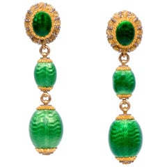 1960s Cazzaniga Gold and Green Guilloché Enamel Drop Earrings