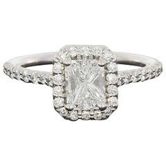 Ritani 1.49 Carat Colorless Radiant Diamond Gold Halo Engagement Ring