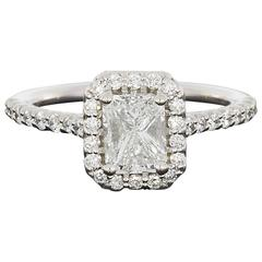 Ritani 1.49 Carat Colorless Radiant Diamond Gold Halo Engagement Ring