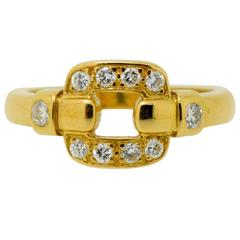 Cartier Yellow Gold and Diamond Open Buckle Ring