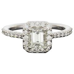 Ritani 1.41 Carat Emerald Cut Diamond Gold Halo Engagement Ring