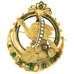 Victorian Gold Pheasant Brooch
