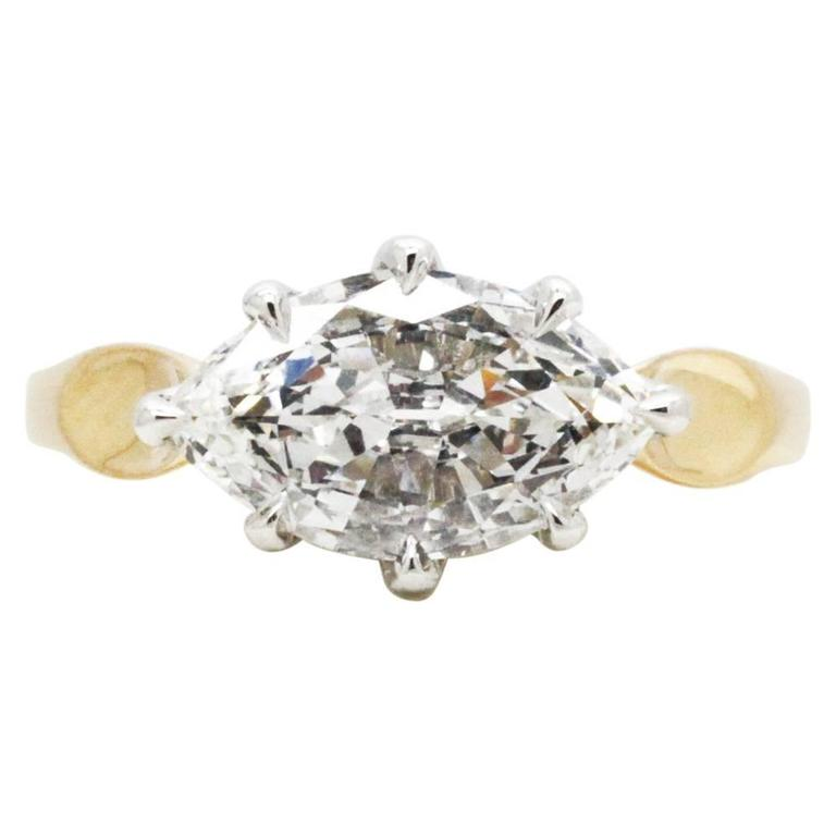 Ferrucci GIA Certified 1.50 carat Marquise Diamond gold Platinum Ring