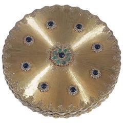 1980s Buccellati Sapphire Emerald gold Gem Set Compact