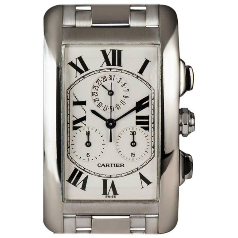 Cartier White Gold Tank Americaine Chronoflex Wristwatch