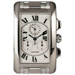 Cartier White Gold Tank Americaine Chronoflex Wristwatch