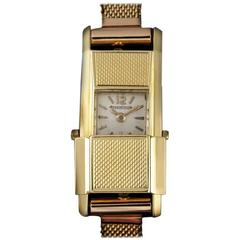 Jaeger LeCoultre Ladies Yellow Gold Duoplan manual wind Wristwatch