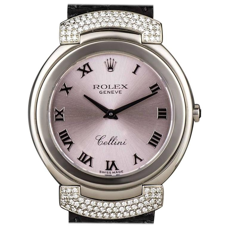 Rolex Ladies White Gold Diamond Lugs Cellini Wristwatch