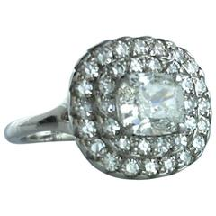 1.01 Carat Cushion Diamond Platinum Ring