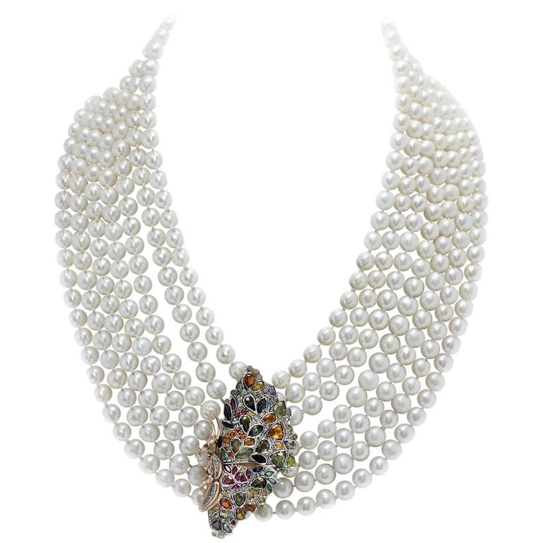 Multicolor Sapphires Rubies Emeralds Diamonds Pearl 7 Row Gold and Si Necklace For Sale