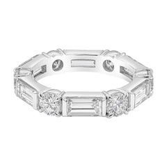 Round and Baguette Diamond Platinum Wedding Band