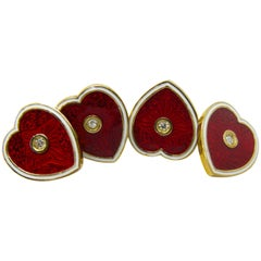White Diamond Red White Champlevé Enameled Heart Shaped Yellow Gold Cufflinks