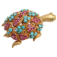 Whimsical Jewel Backed Turtle Brooch
