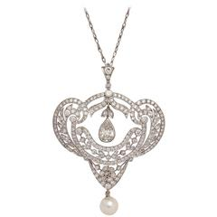 Edwardian Pearl Diamond Gold Pendant on Chain