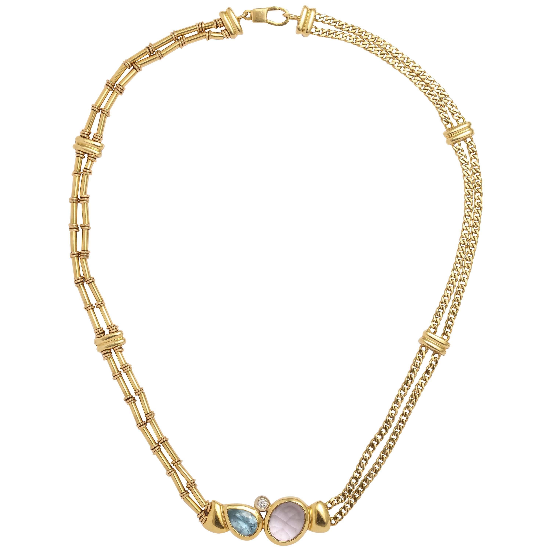 ef31c067e Alternating Floral Gold Leaf and Faceted Aquamarine Necklace For Sale at  1stdibs