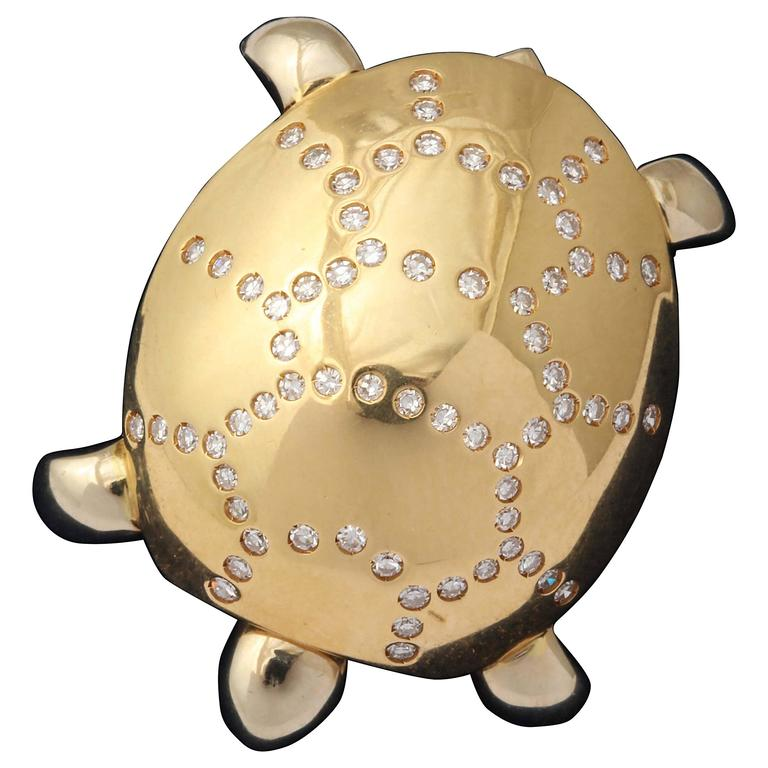 1990s GioCaroli  Figural diamond gold Turtle pin