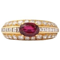 1980s Tiffany & Co. Ruby  Diamond Gold Ring