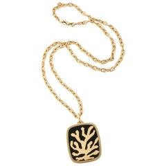 1970s Bulgari Tree Of Life Onyx Pendant With Gold Anchor Link Long Chain