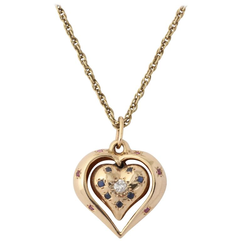 1940s Sapphire Ruby Diamond Reversible Heart Pendant With Gold Link Chain
