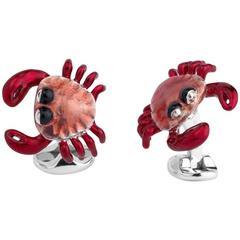 Deakin & Francis Sterling Silver Enamel Crab Cufflinks