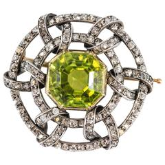 Carl Faberge Peridot Diamond Gold Brooch
