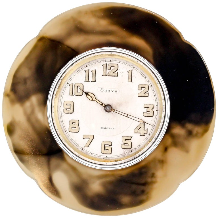 Cartier White Enamel Agate Manual Wind Desk Clock, circa 1930s 1