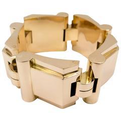 1940s Retro machine Age Large Gold Tank Bracelet